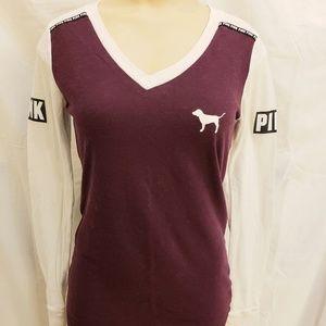 PINK VS long sleeved logo shirt, size small